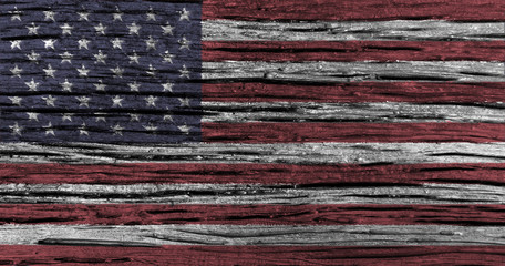 American flag with high detail of old wooden background .