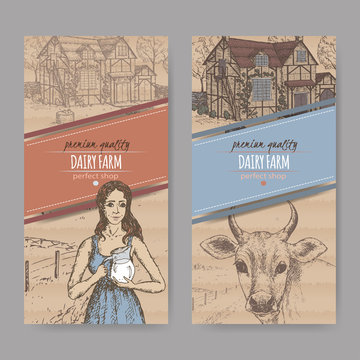Two dairy farm shop labels with farmhouse, milkmaid and cow.