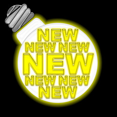 New, web banner, glowing light bulb withe modern yellow letter font forming the word NEW, isolated against the black background.