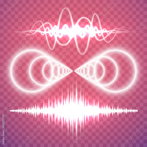 Vector set of isolated transparent sound or radio waves