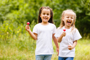 Two cute little sisters eating huge lollipops outdoors on beautiful summer day