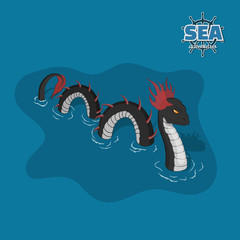 Sea serpent in isometric style. Ocean monster. A pirate game. 3d image of a mythical animal