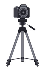Camera on a tripod vector icon. Isolated illustration