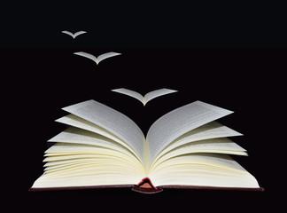 Libro y hojas simulando pájaros volando sobre fondo negro. Imaginación, aprendizaje, libertad. Surrealista