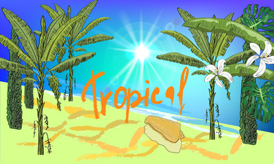 Vector drawn sea scape background with tropical palms, cypress, leaves, flowers, seashell and sun. Tropical background.