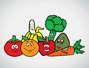 cartoon vector illustration of a fruits & veggies collection