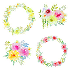 Watercolors bouquets and wreaths