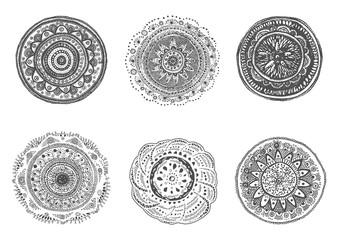 Set of hand drawn mandalas.