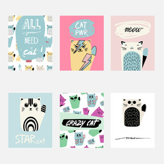 Vector cute cartoon greeting card set with cats. Hand drawn fun template for cards, flyers, brochures, business, birthday, anniversary, wedding, party invitation, holidays.