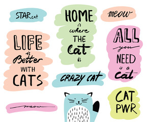 Vecotr hand drawn lettering quotes about cats. Inspirational doodle typography for posters, cards, flyers, brochure.