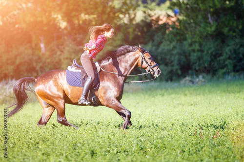 young rider woman on galloping horse without holding bridle free