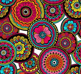 Decorative nature ornamental seamless pattern. Beautiful colorful doodle art pattern. Zentagle style. Ethnic pattern