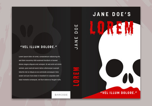 Black Book Cover Layout with Skull Illustration