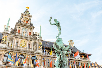 View on the Brabo fountain with city hall on the background in Antwerpen city center, Belgium