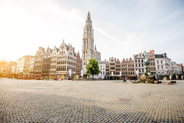 Foto op Aluminium Antwerpen Morning view on the Grote Markt with beautiful buildings and church tower in Antwerpen city, Belgium