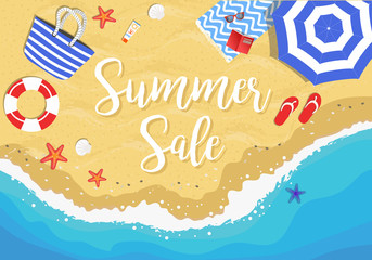 Summer sale hand drawn vector illustration with beach from above view, sun umbrella, beach bag, towel, flip flops, sea buoy, sun glasses, sea stars and shells
