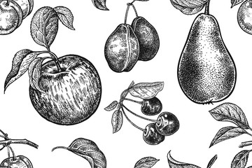 Fruits and berries seamless pattern. Realistic apple, pear, plum and cherry. Black and white. Vector illustration art. Vintage engraving. Hand drawing. Template with nature motifs for kitchen design.