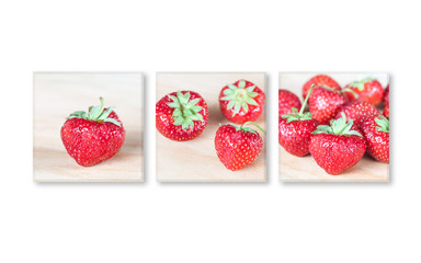 Frames set with strawberry pictures, decorative wallpaper for restaurants and kitchen area, interior design mock up