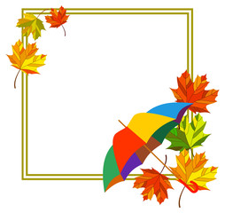Square  frame with fallen leaves and umbrella. Vector clip art.