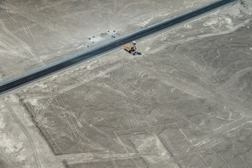 The view of sand field near Nazca town, Peru