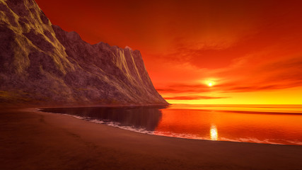 Poster Cuban Red beautiful fantasy sunset over the ocean