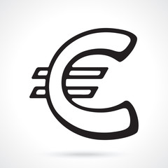 Silhouette of European euro sign. Vector illustration. The symbol of world currencies. Design element for menus, showcases, wallpapers and interfaces