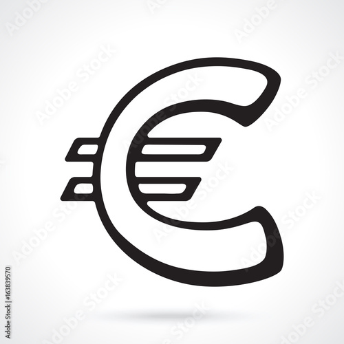 Silhouette Of European Euro Sign Vector Illustration The Symbol Of