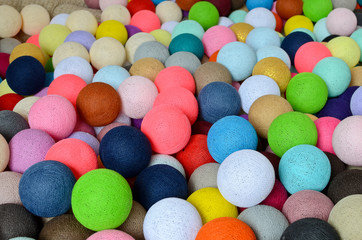 Multicolored cotton light balls for background