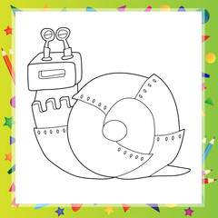 Vector illustration of Snail robot - Coloring book