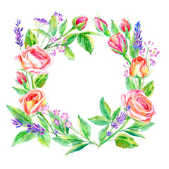 Floral wreath.Garland of a roses branches and lavender.Frame of a herbs.Watercolor hand drawn illustration.It can be used for greeting cards, posters, wedding cards.