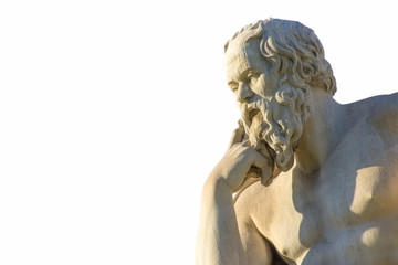 Printed roller blinds Historic monument Statue of the Greek philosopher Socrates over white background