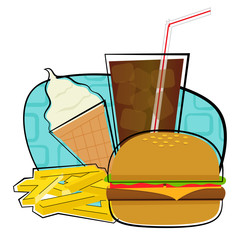 Fast Food icon - Clip art of a cheeseburger with fries soda and ice cream. Eps10