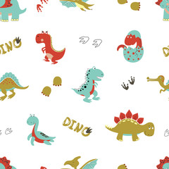 Seamless cartoon dinosaurs pattern. Vector dino background for kids design.