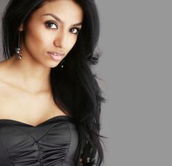 Beautiful woman with long dark hair