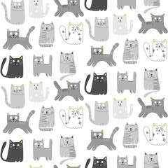 Pattern with cute grey cats. Vector illustration. For textiles, cards, wallpaper