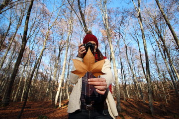 """Young beautiful woman taking pictures to beech leaves in one of the most amazing beech forest in Europe, """"La Fageda d'en Jorda"""", a nature paradise placed close to Olot village, Catalonia, Spain."""