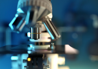 A modern microscope examining a biological test sample in a science laboratory. 3D illustration.