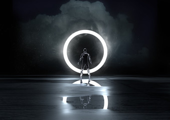 Circle of Light. A glass figure illuminated at night by a circle of light. 3D Illustration