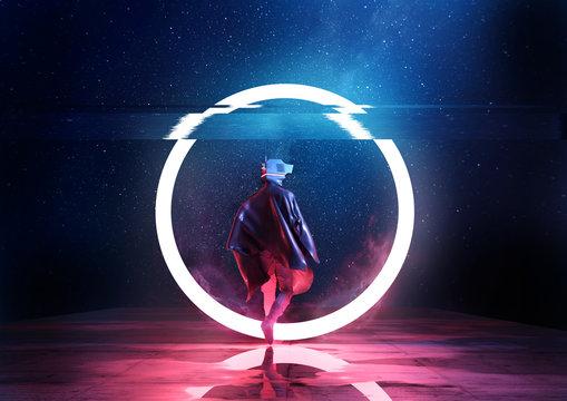 Futuristic spaceman walking through a circle of light