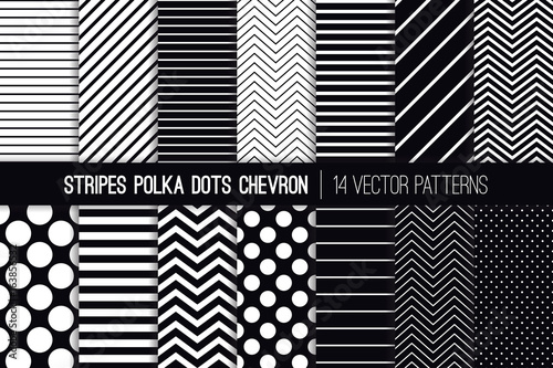 black and white stripes chevron and polka dot vector patterns modern minimal backgrounds