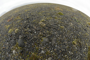 Volcanic rock on a rounded horizon