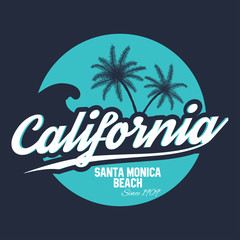 80s style surf sport typography. T shirt graphic. California tee graphic