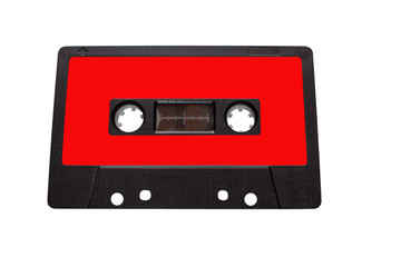 Vintage compact audio cassettes. Music cassette tapes old technology realistic retro design. colour  red, insulated white background