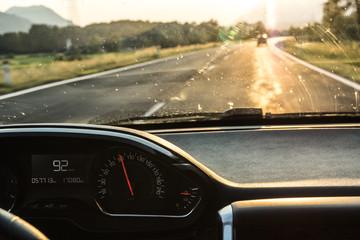 Schlechte Sicht beim Autofahren