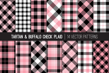 Pink, Black and White Tartan and Buffalo Check Plaid Vector Patterns. Preppy School Uniform Style Fashion. Hipster Female Lumberjack Flannel Shirt Fabric Textures. Pattern Tile Swatches Included.