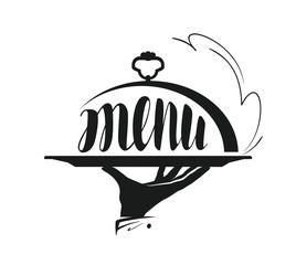 Food service, catering logo. Icon for design menu restaurant or cafe. Vector illustration