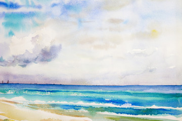 Watercolor seascape  original  painting colorful of sea view,beach