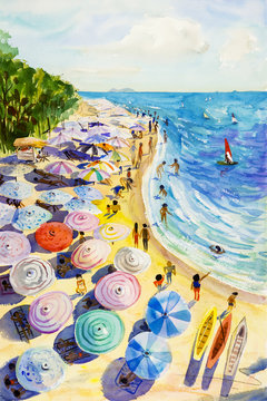 Painting watercolor seascape colorful of lovers, family vacation.