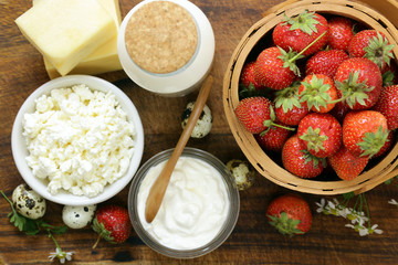 Rustic Still Life Dairy Products - cottage cheese, sour cream, cheese, milk