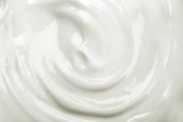 close up the white creamy homemade yogurt texture background